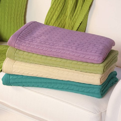 Cable Knit Throw, Lilac/Light Green/Green