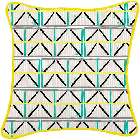Colombage Yellow/Turquoise Cushion