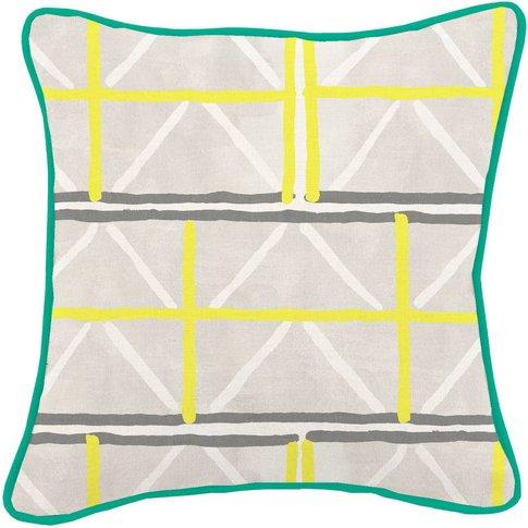 Colombage Yellow/Grey Harris Tweed Cushion