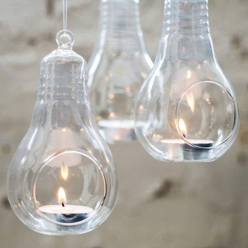 Glass Lightbulb Hanging Vase