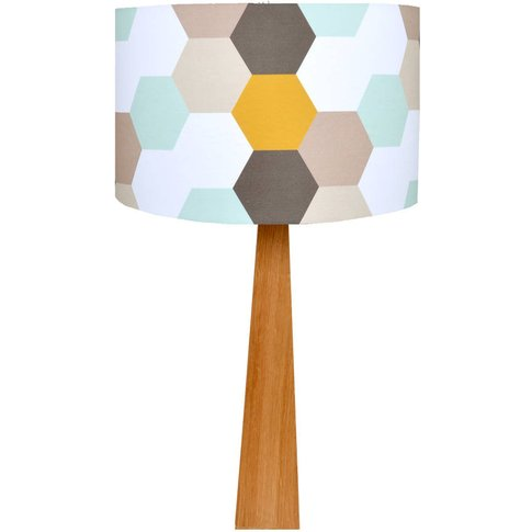 Hexagons Wooden Table Lamp