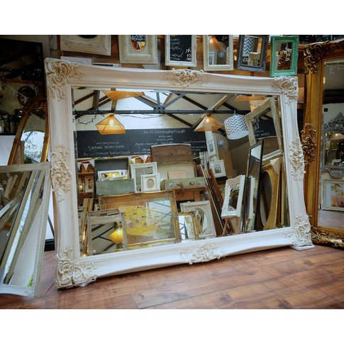 Huge Oversized Ivory Mirror, Gold/Ivory/White