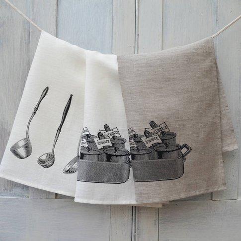 Linen Tea Towel French Sauces, Cream/Linen