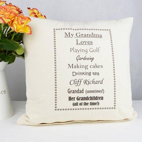 Personalised 'Grandma Loves' Cushion