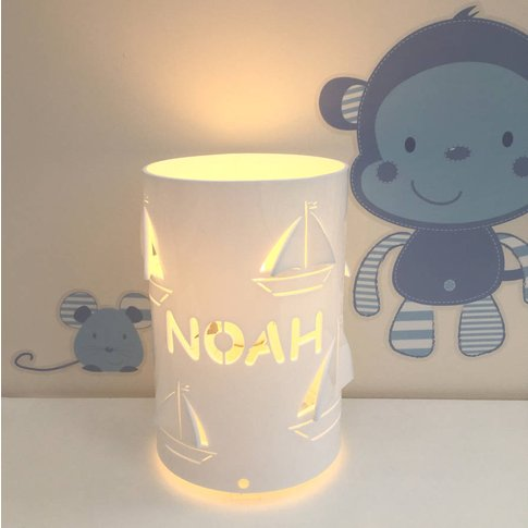 Personalised Boat Table Lamp Children's Lamp, White/...