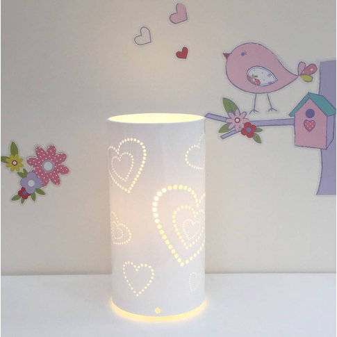 Heart Table Lamp, White/Purple/Baby Pink