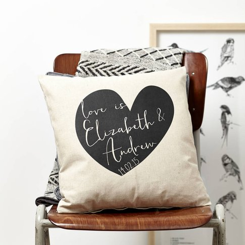 Personlised Heart Valentines Cushion