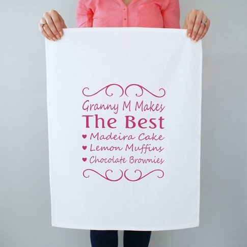 Personalised You're The Best Tea Towel, White/Pastel...