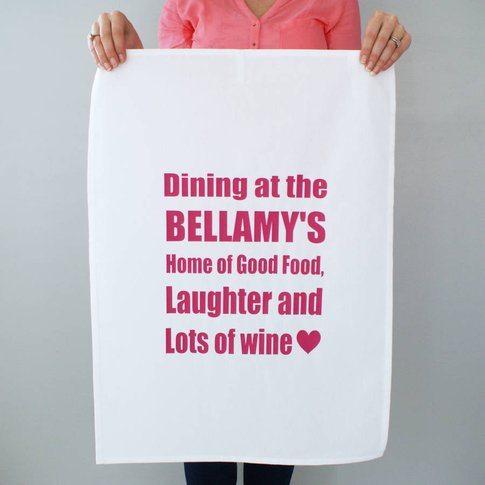Personalised Dining At Yours Tea Towel, White/Pastel...