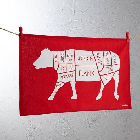 Butchers Cow / Beef Meat Cuts Tea Towel, Charcoal/Cr...