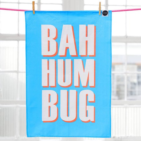 'Bah Hum Bug' Festive Tea Towel