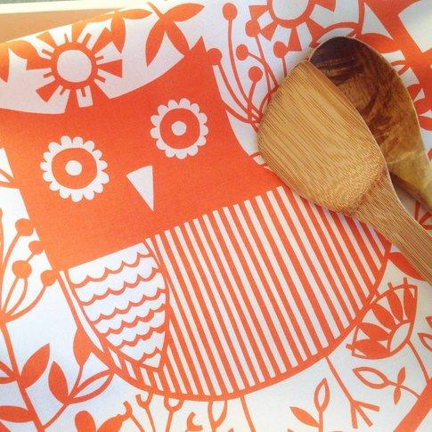 Screen Printed Orange Or Pink Owl Tea Towel, Orange/...