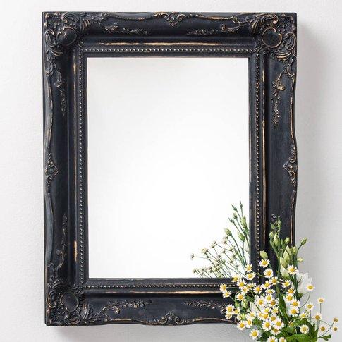 Vintage Matt Black Mirror Distressed, Silver/Gold/Black