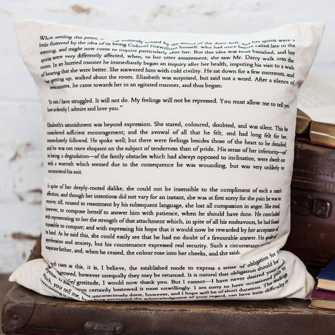 Pride And Prejudice Cushion Cover Book Page Print