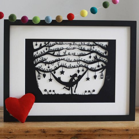 Romantic Hammock Papercut Or Print In Mount