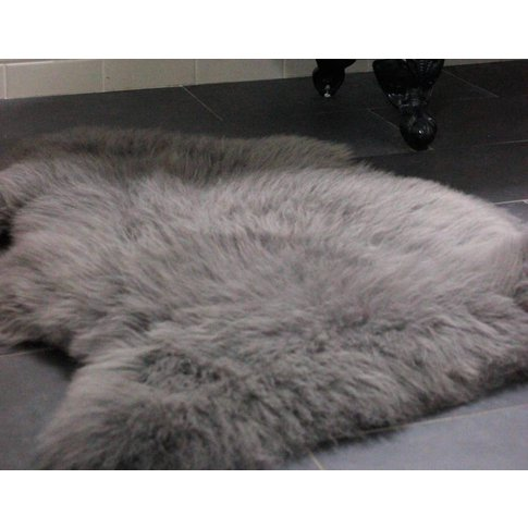 Slate Grey Sheepskin Rug, Grey/Black/Brown