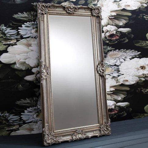 Ornate Antique Silver Floor Standing Mirror