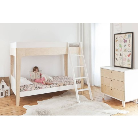 Contemporary Bunk Bed White And Birch