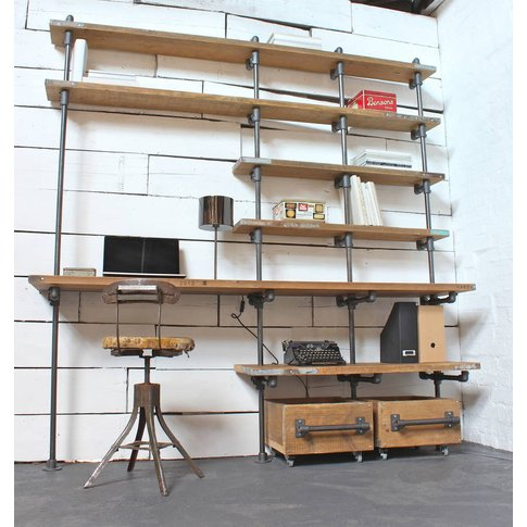 Caroline Wood And Pipe Industrial Desk And Shelves