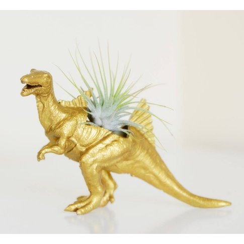 Spinosaurus Dinosaur Planter With Plant, Copper/Gold...