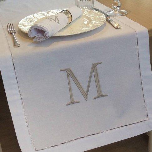Personalised Table Runner, White/Black/Grey