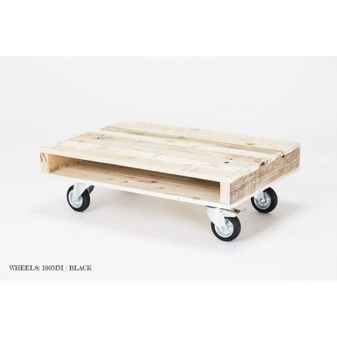 'On Wheels' Small Wood Coffee Table, Black/White