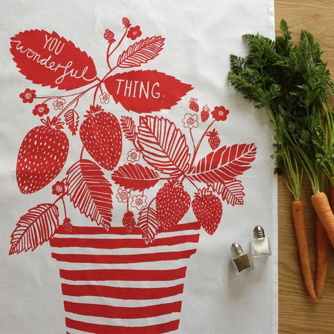 'You Wonderful Thing' Strawberries Tea Towel
