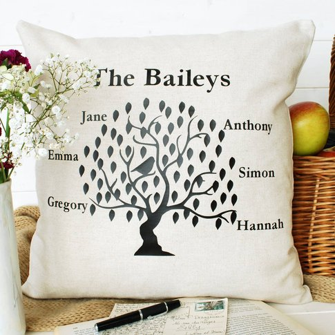 Family Tree Bird Cushion Square