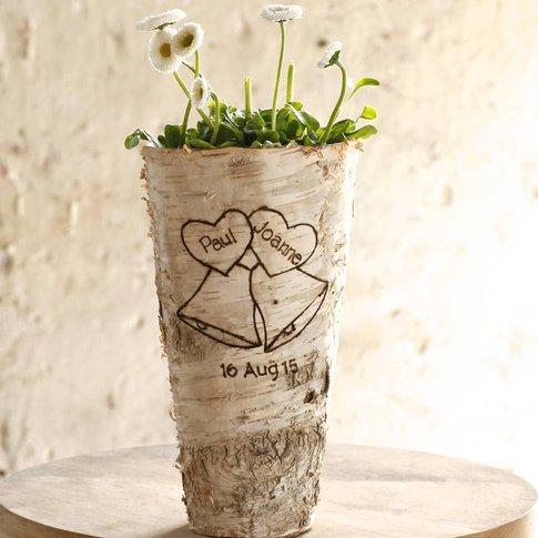 Personalised 'Wedding Bells' Birch Wood Vase