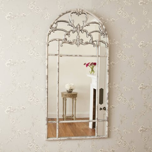 Aged Arched Metal Window Mirror