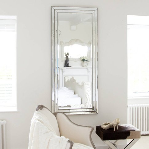 Pewter Silver Edged Leaner Mirror
