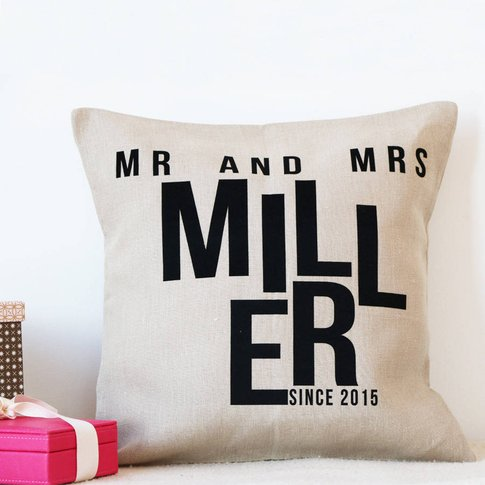 Mr And Mrs Linen Wedding Letter Cushion