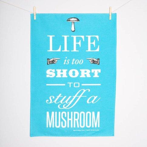 'Life Is Too Short..' Typographic Tea Towel, Pink/Blue