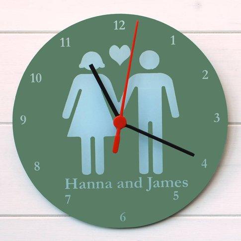Valentines Clock, Plum/Sky Blue/Blue