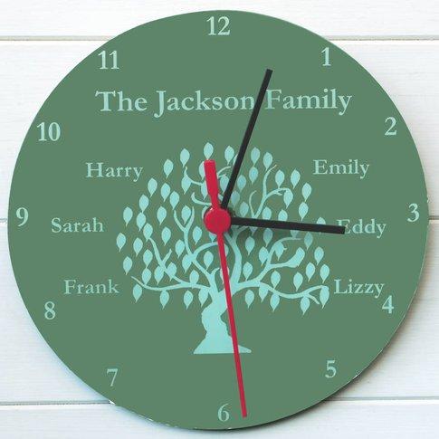 Family Tree Clock, Plum/Sky Blue/Blue