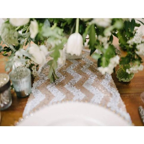 Blush Chevron Sequin Table Runner
