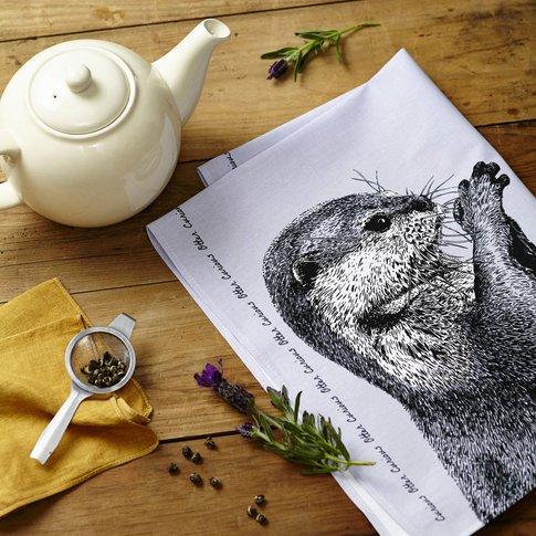 Curious Otter Tea Towel