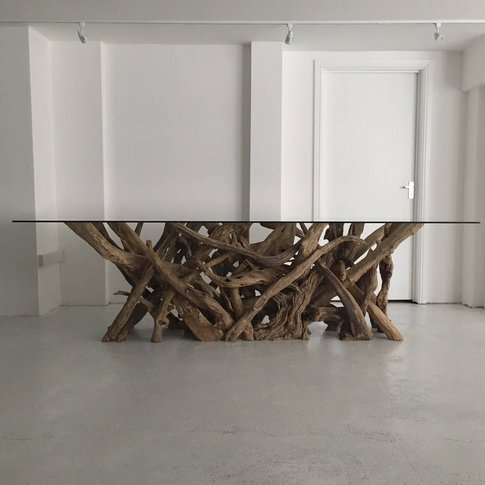 Large Natural Driftwood Rectangular Dining Table Base