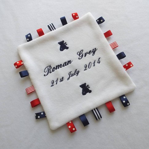 Personalised Embroidered Comfort Blanket, White/Navy...