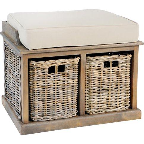 Rowico Maya Grey Small Bench With Baskets