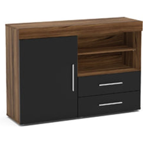 Birlea Edgeware 1 Door 2 Drawer Sideboard Walnut & B...