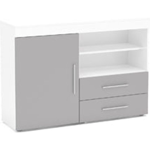 Birlea Edgeware 1 Door 2 Drawer Sideboard White & Grey