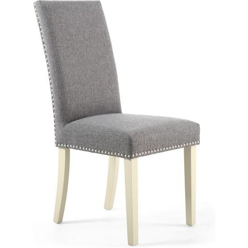 Shankar Randall Stud Detail Linen Effect Steel Grey Dining Chair With Cream Legs (2pk)
