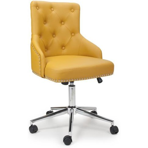 Shankar Rocco Leather Effect Yellow Office Chair