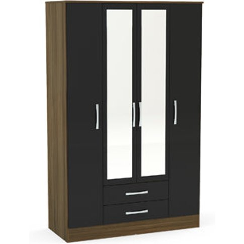 Birlea Lynx 4 Door 2 Drawer Wardrobe With Mirror Wal...