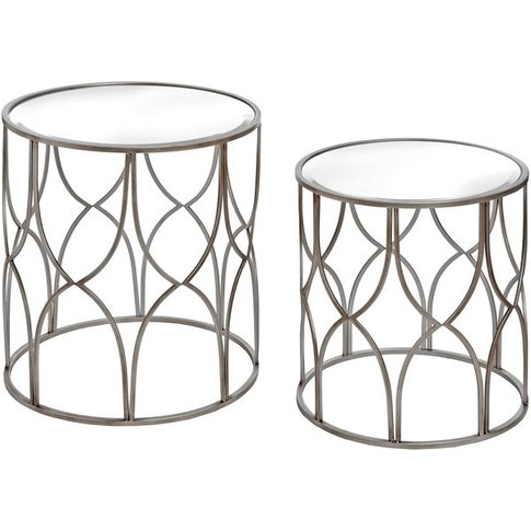 Hill Set Of Two Lattice Detail Silver Side Table