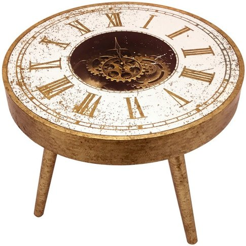 Hill Mirrored Round Framed Clock Table With Moving M...