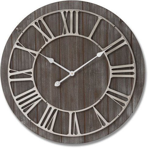 Hill Wooden Clock With Contrasting Nickel Detail