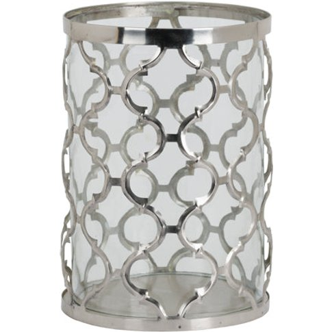 Hill Large Polished Nickel Arabesque Patterned Candl...