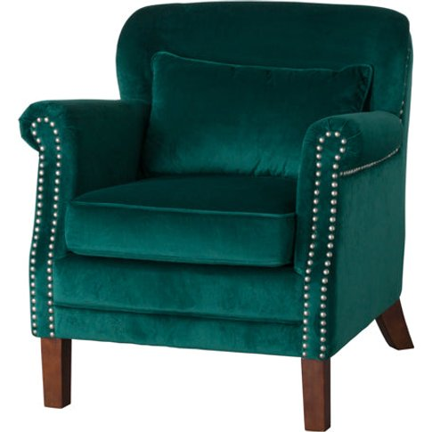 Hill Emerald Velvet Low Backed Studded Armchair